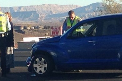 St. George Police officers attend to an accident that occurred at 1200 E. St. George Blvd, St. George, Utah, Nov. 24, 2014 | Photo by Holly Coombs, St. George News