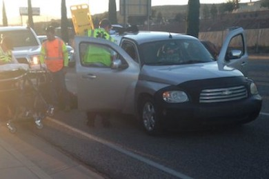 Gold Cross Ambulance responds to two accidents within 20 minutes on Red Cliffs Drive, St. George, Utah, Nov. 28, 2014   Photo by Holly Coombs, St. George News