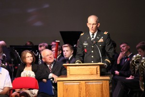 Charles Triplett announces he will accept his award for all those who have served and for those who died while in service, Cedar City, Nov. 11, 2014 | Photo by Devan Chavez, St. George News