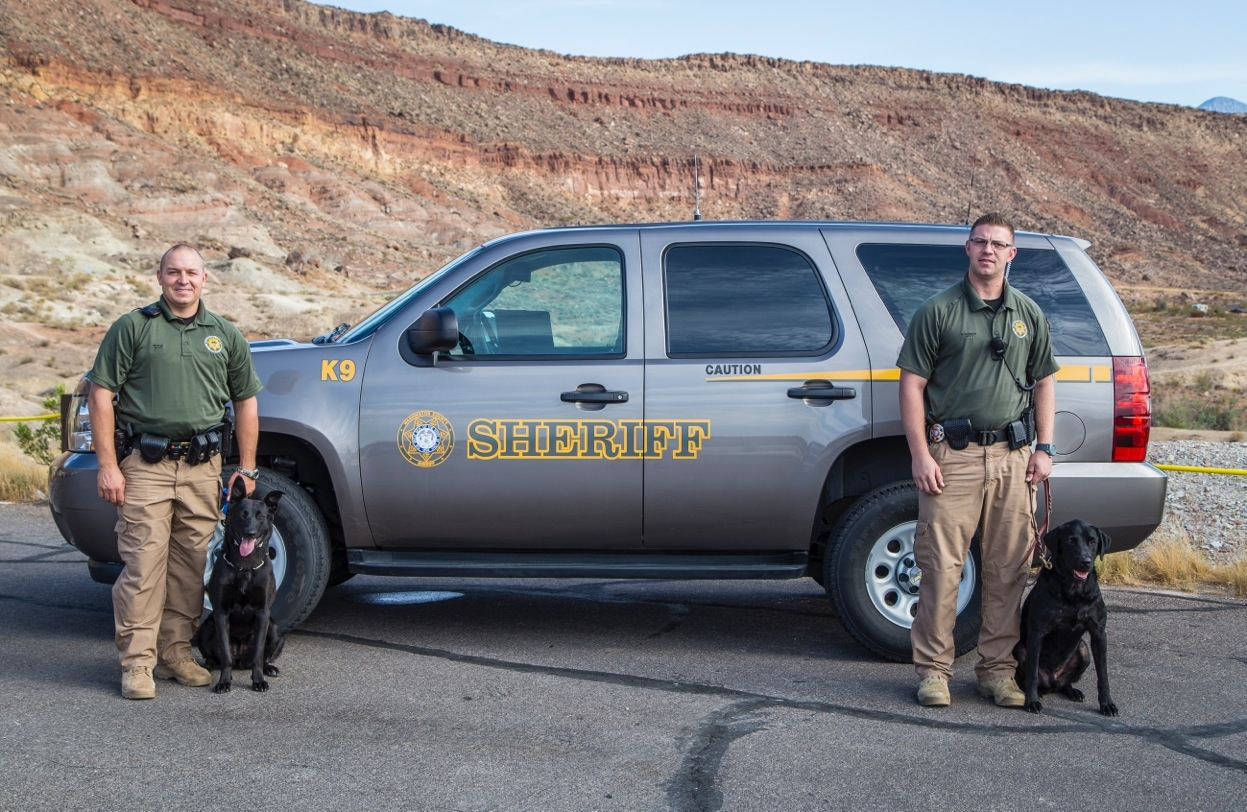 Washington County Sheriff's Office K-9s Tess with the Patrol Division and Eni with Corrections and their handlers, Washington County, Utah, date unspecified | Photo courtesy of the Washington County Sheriff's Office, St. George News