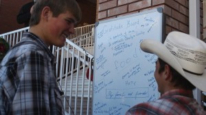A gratitude board is covered with messages of thankfulness, Hildale, Utah, Nov. 29, 2014 | Photo by Leanna Bergeron, St. George News