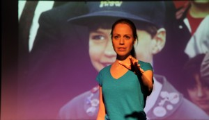 """Elizabeth Van Meter performs her one-woman show, """"The Purpose Project,"""" location and date not specified 