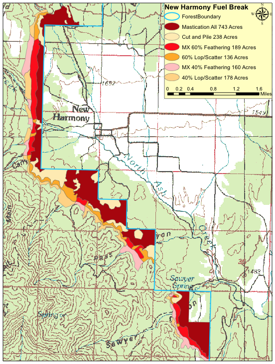 Central/New Harmony fuelbreak project September 2014-May 2015 | Image courtesy of Dixie National Forest, St. George News
