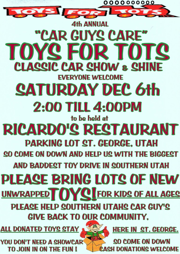 Announcement Email Sample Toys For Tots : Toys for tots classic car show st george news