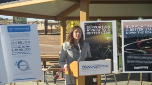 Abby Albrecht, of the Utah Transportation Coalition, speak to the crowd about the public awareness campaign, St. George, Utah, Nov. 18, 2014 | Photo by Mori Kessler, St. George News