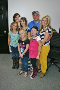 The Rodgers family, front, from left, Aubree Rodgers, Christee Rodgers, Brittnee Rodgers and, back, from left, Kaydee Rodgers Fridell, Mandee Rodgers, Rob Rodgers and Tonya Rodgers, St. George, Utah, Oct. 14, 2014 | Photo by Cami Cox Jim, St. George News