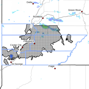 Dots denote affected areas at 6:40 p.m., Utah, Nov. 13, 2014 | Image courtesy of National Weather Service, St. George News