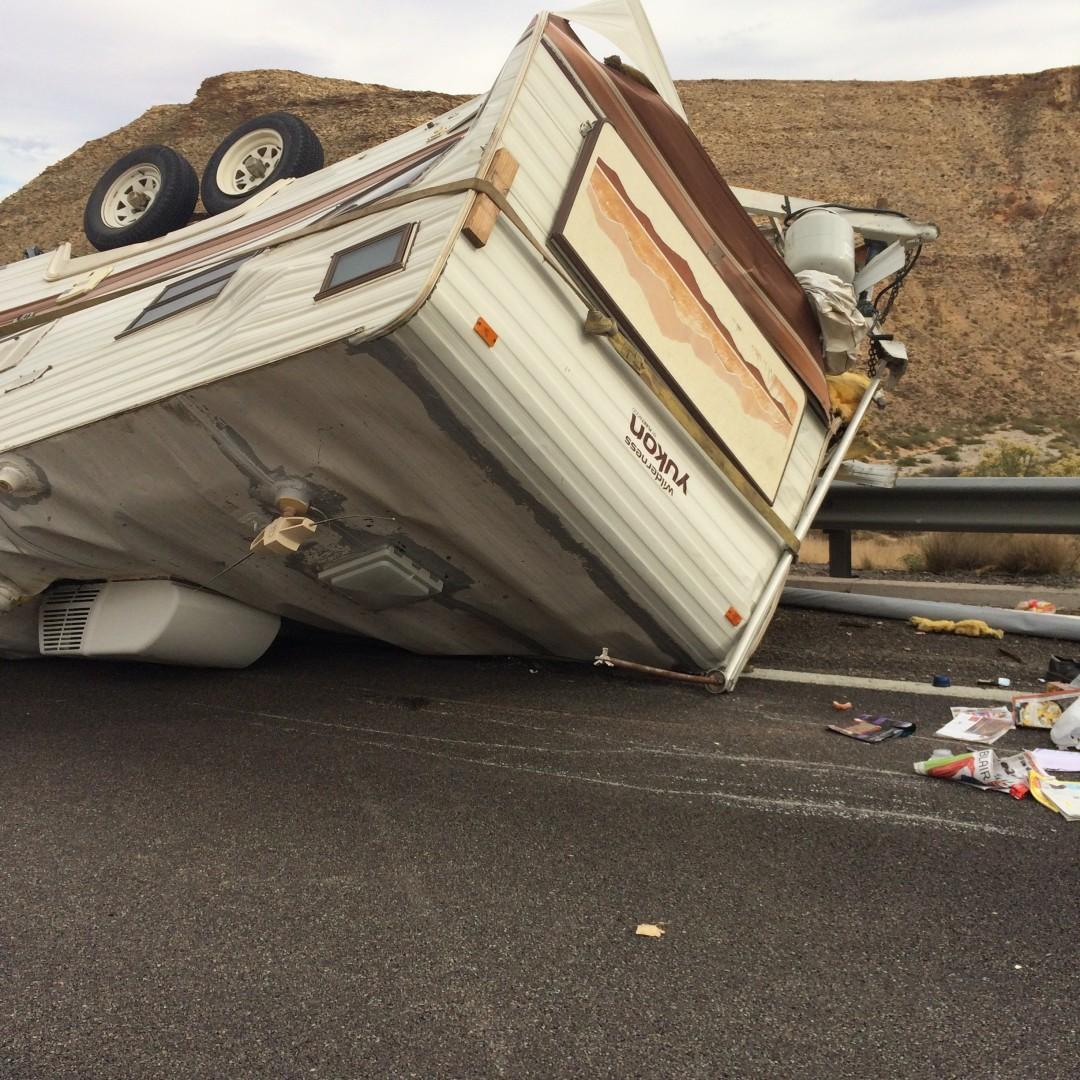 Rollover on northbound Interstate 15, near milepost 20.5, backs up traffic for 10 miles, Arizona Strip, Arizona, Nov. 30, 2014 | Photo courtesy of Kellie Jourdain, St. George News