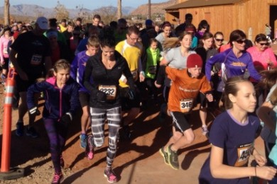 And they're off! Racers take off running at the St. George Races Turkey Trot, St. George, Utah, Nov. 22, 2014 | Photo by Hollie Reina, St. George News
