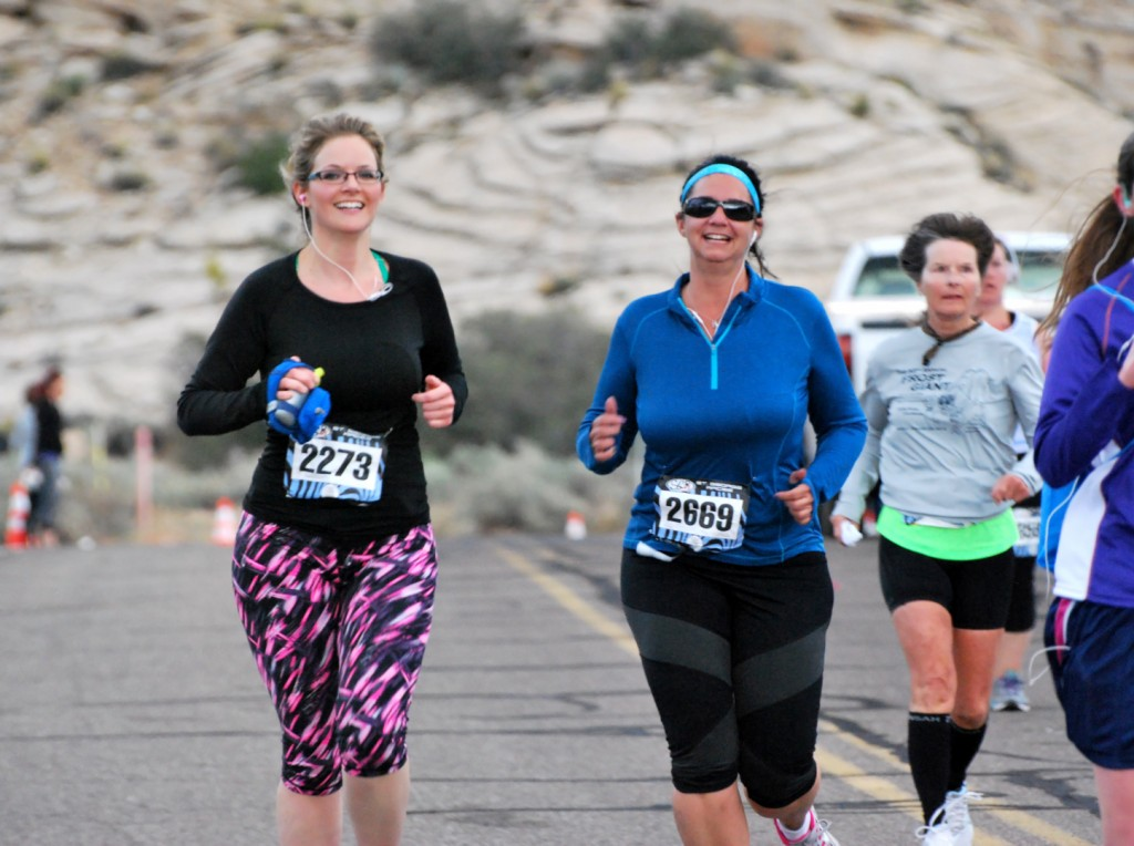 In this photo from 2014, runners smile as they participate in the Snow Canyon Half Marathon St. George UT, Nov. 1, 2014 | Photo by Leanna Bergeron, St. George News