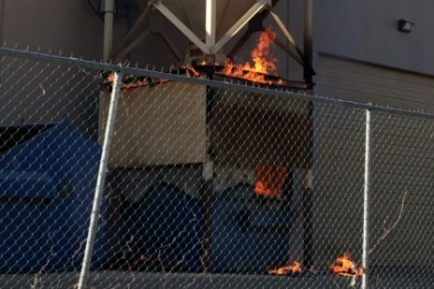 Firefighters respond to  a reported dumpster fire at the Riverwoods Mill in the Fort Pierce Industrial Park, St. George, Utah, Nov. 22, 2014 | Photo courtesy of  Will Hansen, St. George News