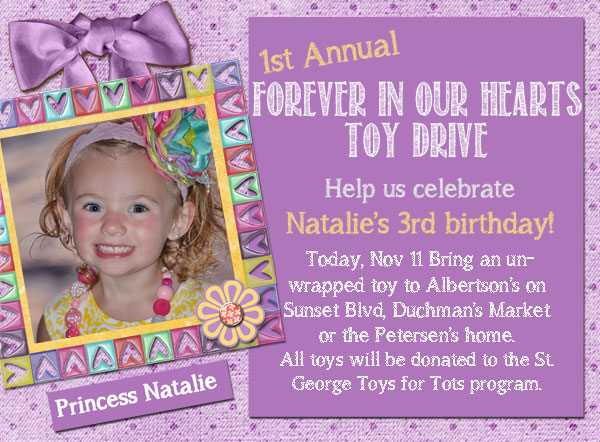 Announcement Email Sample Toys For Tots : Celebrating princess natalie st george news
