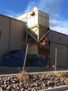 Firefighters responded to  a reported dumpster fire at the Riverwoods Mill in the Port Pierce industrial park, St. George, Utah, Nov. 22, 2014   Photo courtesy of  Will Hansen, ST. George News
