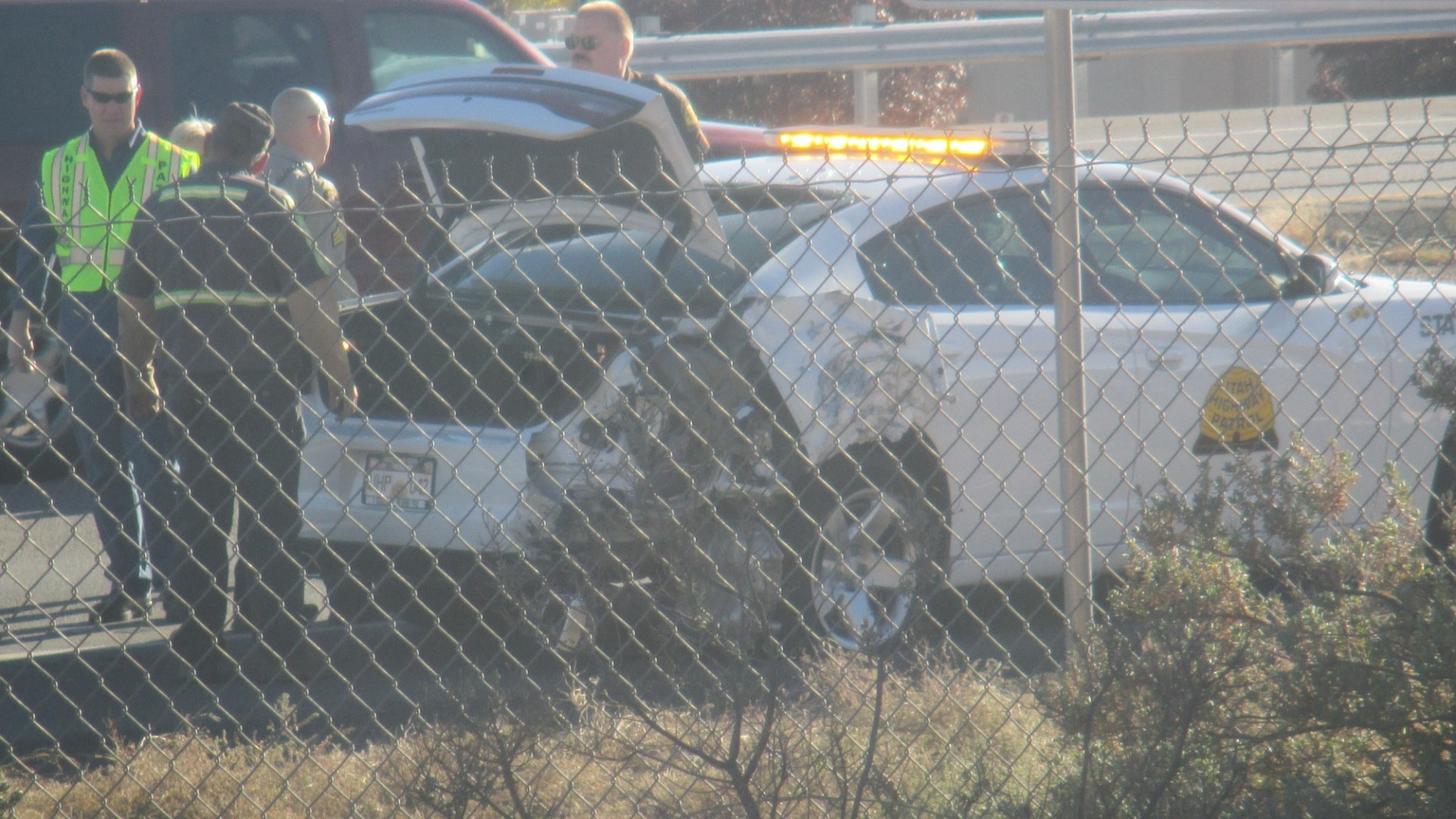 A Utah Highway Patrol Trooper was involved in a collision at Interstate 15 mile marker 9 near the Green Springs Drive Exit, Washington City, Utah, Nov. 28, 2014 | Photo by Mori Kessler, St. George News