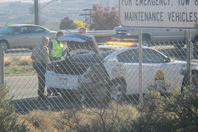 A Utah Highway Patrol trooper was involved in a collision at Interstate 15 mile marker 9 near the Green Springs Drive Exit, Washington City, Utah, Nov. 28, 2014   Photo by Mori Kessler, St. George News