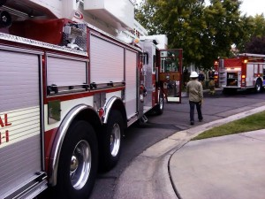 St. George firefighters respond to a house fire on Canyon View Drive in St. George, Utah, Nov. 1, 2014 | Photo by Aspen Stoddard, St. George News