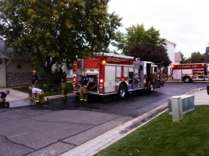 St. George firefighters respond to a house fire on Canyon View Drive in St. George, Utah, Nov. 1, 2014   Photo by Aspen Stoddard, St. George News