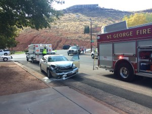 Aftermath of the collision that occurred near 450 South on Bluff Street in St. George, Utah, Nov. 14, 2014   Photo by Brett Brostrom, St. George News