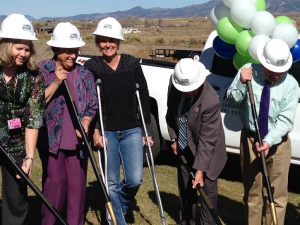 GMH Long Term Care Manager Julie Bybee, GMH Hospital Board member Deon Alvey,  GMH Foundation Chair Sue Barney, GMH Hospital Board member Art Cooper and Garfield County Commissioner Leland Pollock at the Groundbreaking Ceremony outside the Garfield Memorial Hospital located at 200 N. 400th East in Panguitch, Utah, Oct. 27, 2014 | Photo courtesy of the Garfield Memorial Hospital, St. George News