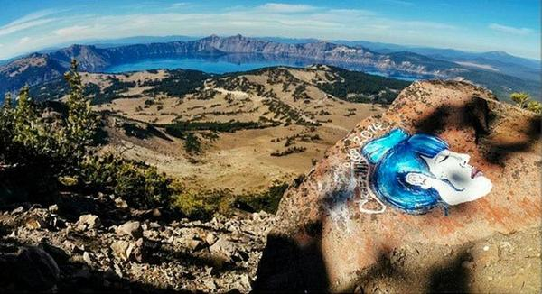 Casey Nocket leaves an image of a woman's face at Crater Lake National Park, Oregon, circa 2014 | Photo courtesy of the Modern Hiker, St. George News