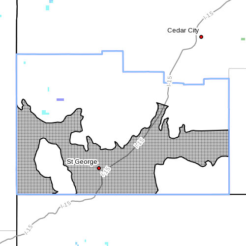 Dots denote affected area at radar time 3:05 p.m., Washington County, Utah, Nov. 16, 2014 | Image courtesy of the National Weather Service