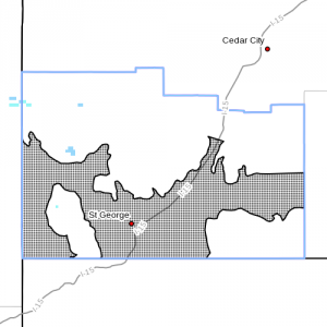 High Wind Watch advisory. Dots denote affected areas in Utah as of Nov. 15, 2014, 9:15 a.m. | Image courtesy of National Weather Service, St. George News | Click on image to enlarge