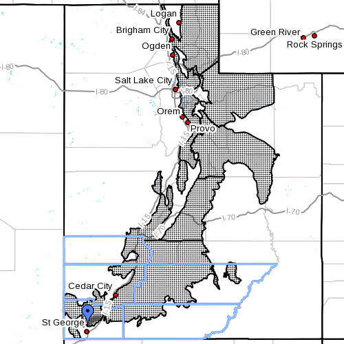 "Dots denote areas subject to ""Winter Storm Warning,"" mountains of Utah statewide at 7 a.m. Dec. 24, 2014 
