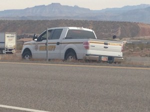 Iron County Sheriff's Office responds to a single car accident in the median of I-15, Hurricane, Utah, Dec. 8, 2014 | Photo by Holly Coombs, St. George News