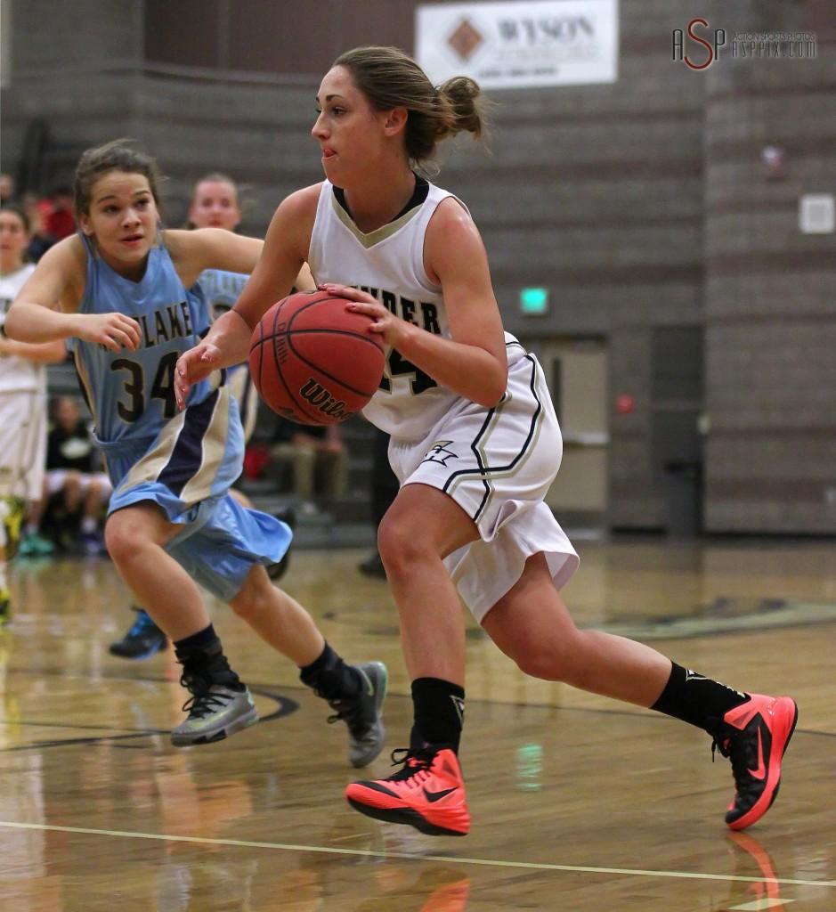 Thunder G Kenzie Done drives to the lane, Desert Hills vs. Westlake, Girls Basketball, St. George, Utah, Dec. 4, 2014 | Photo by Robert Hoppie, ASPpix.com, St. George News