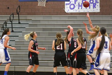 Dixie vs. Hurricane, Girls Basketball, St. George, Utah, Dec. 9, 2014 | Photo by Robert Hoppie, ASPpix.com, St. George News