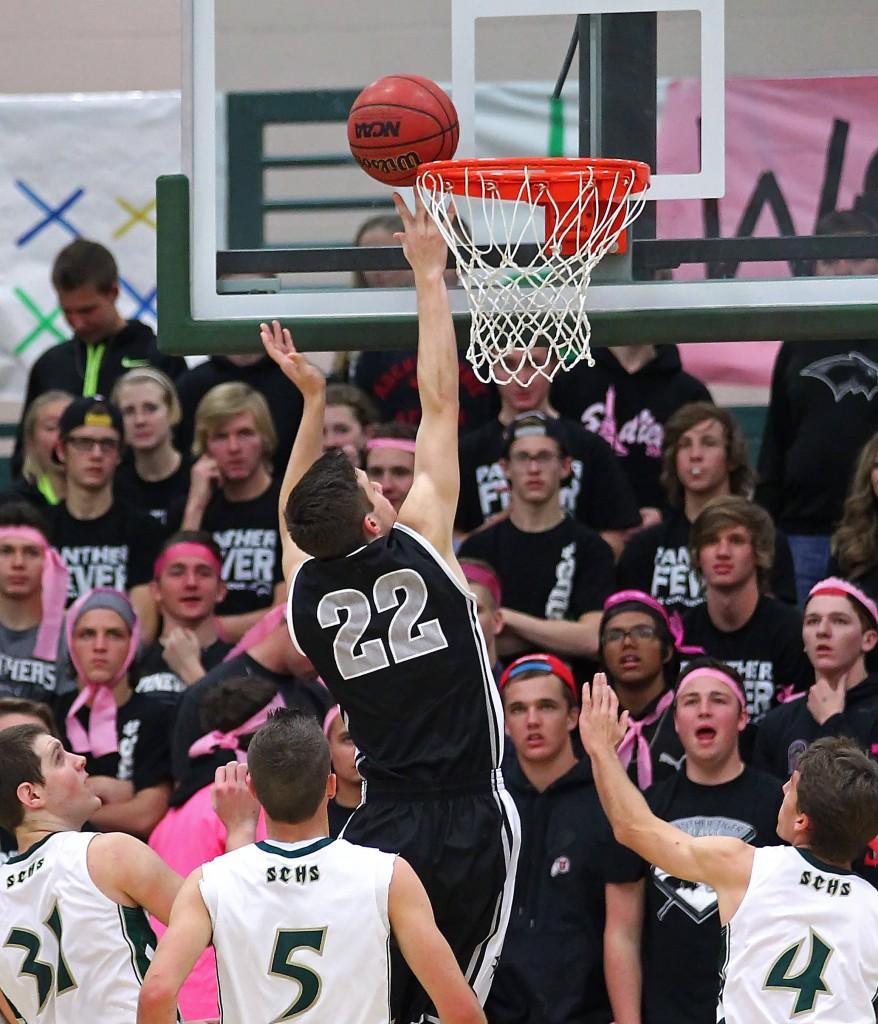 Cody Ruesch (22) lays in a shot, Snow Canyon vs. Pine View, Boys Basketball, St. George, Utah, Dec. 10, 2014 | Photo by Robert Hoppie, ASPpix.com, St. George News