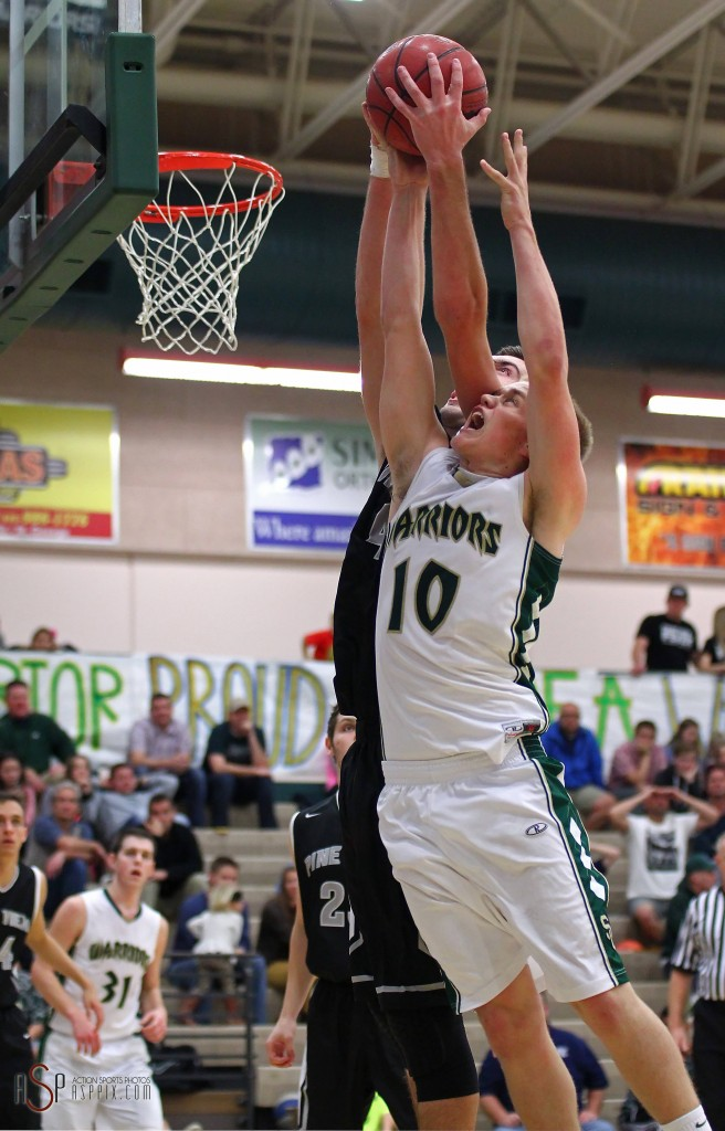 Snow Canyon's Brock Staheli (10) and Pine View's Kody Wilstead fight for a rebound, Snow Canyon vs. Pine View, Boys Basketball, St. George, Utah, Dec. 10, 2014 | Photo by Robert Hoppie, ASPpix.com, St. George NewsSnow Canyon vs. Pine View, Boys Basketball, St. George, Utah, Dec. 10, 2014 | Photo by Robert Hoppie, ASPpix.com, St. George News