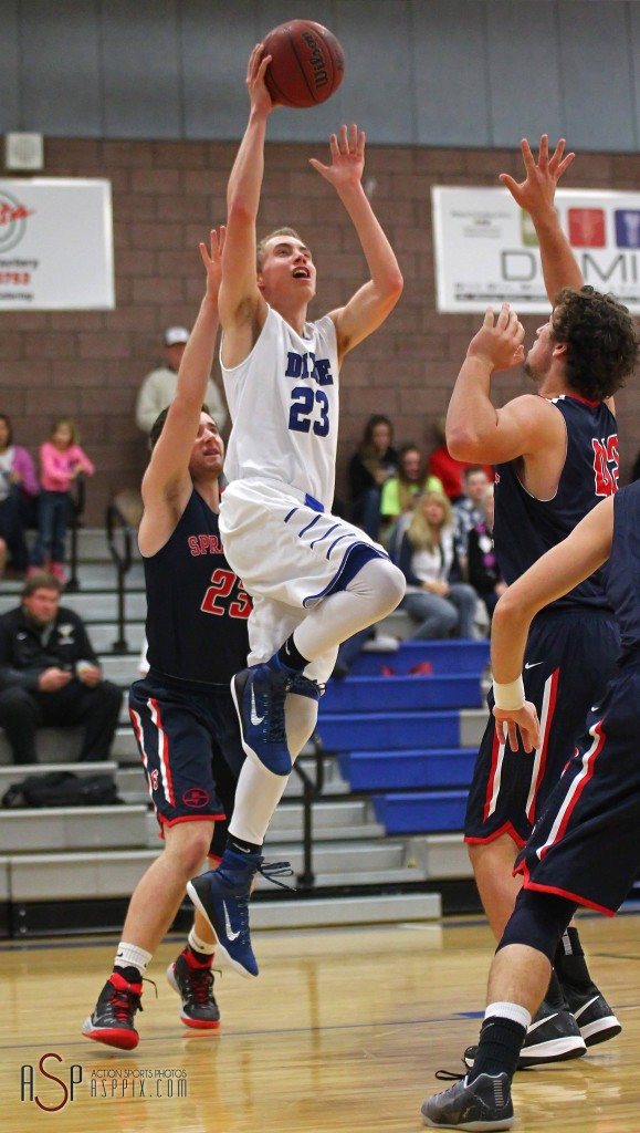Dixie G Jake Hawes goes up strong to the basket, Dixie vs. Springville, Boys Basketball, St. George, Utah, Dec. 12, 2014 | Photo by Robert Hoppie, ASPpix.com, St. George News