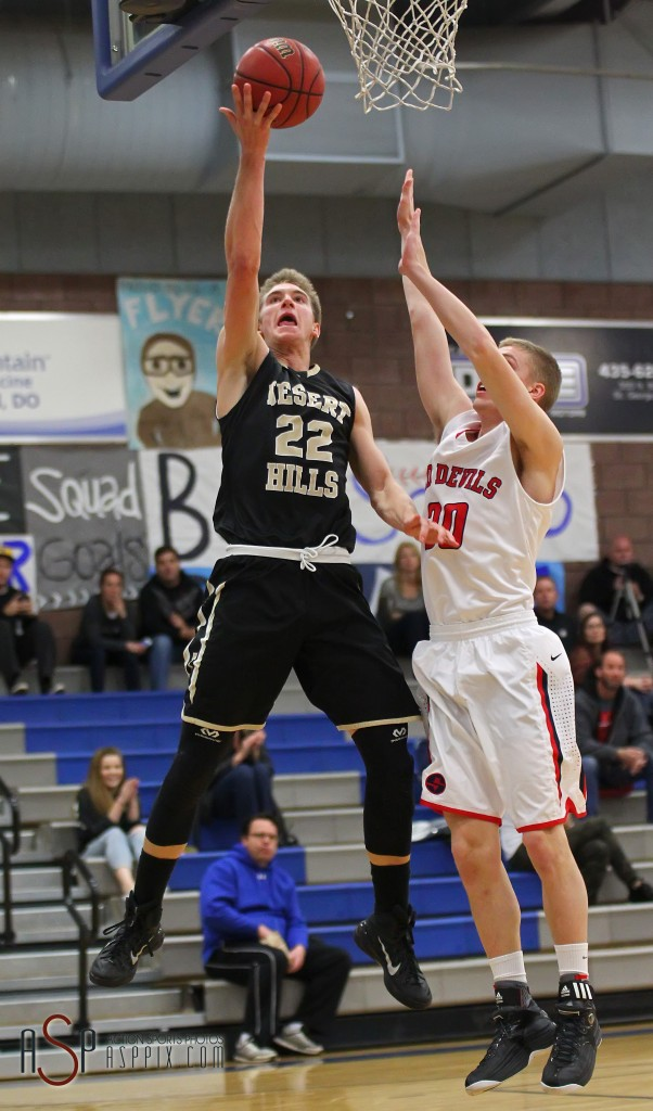 Quincy Mathews lays in a shot late in the game, Desert Hills vs. Springville, Boys Basketball, St. George, Utah, Dec. 13, 2014 | Photo by Robert Hoppie, ASPpix.com, St. George News