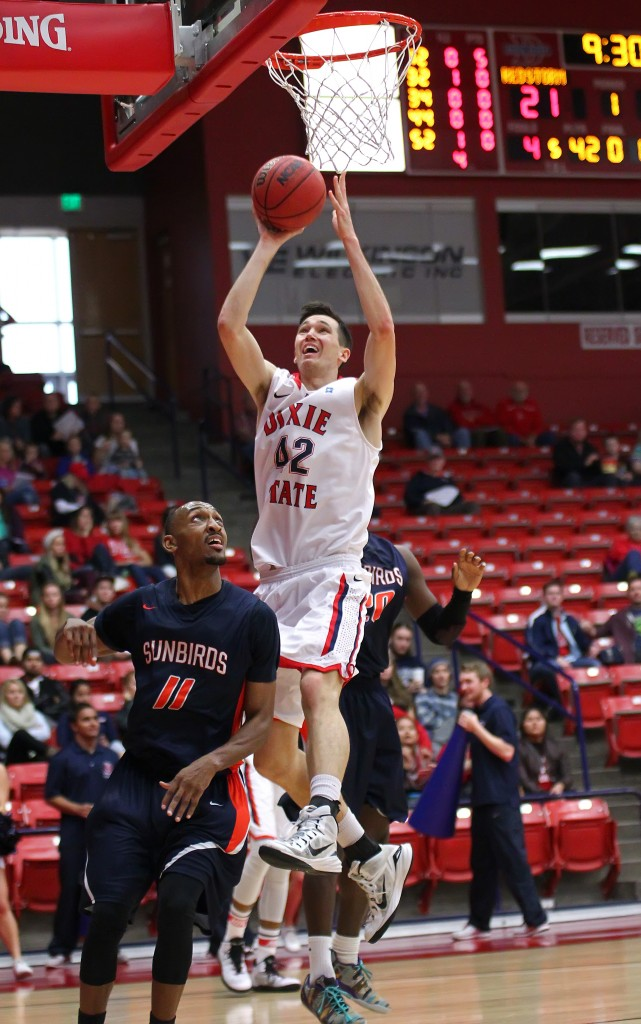 Zach Robbins (42) with a lay up, Dixie State University vs. Fresno Pacific University, Mens Basketball, St. George, Utah, Dec. 13, 2014 | Photo by Robert Hoppie, ASPpix.com, St. George News