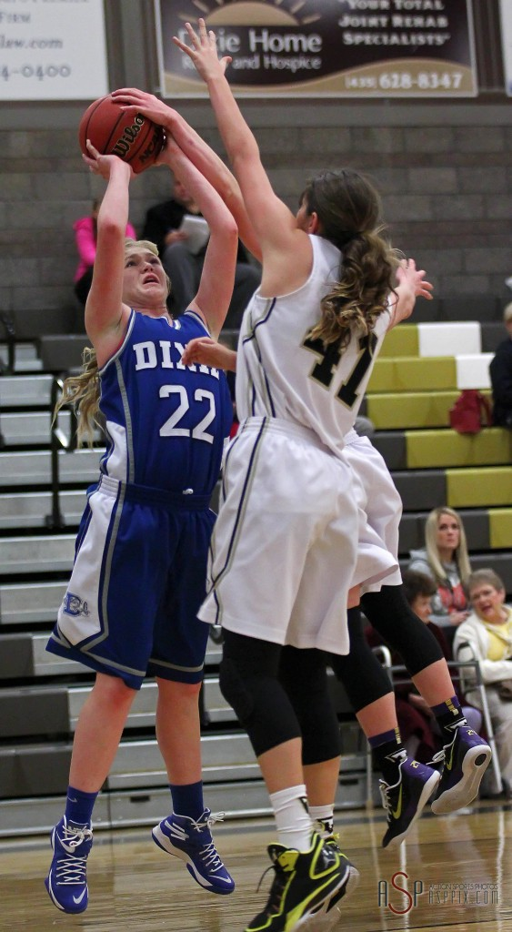Alexa Estridge (22) puts up a shot against Taylor Salisbury (41), Desert Hills vs.Dixie, Girls Basketball, St. George, Utah, Dec. 16, 2014 | Photo by Robert Hoppie, ASPpix.com, St. George News