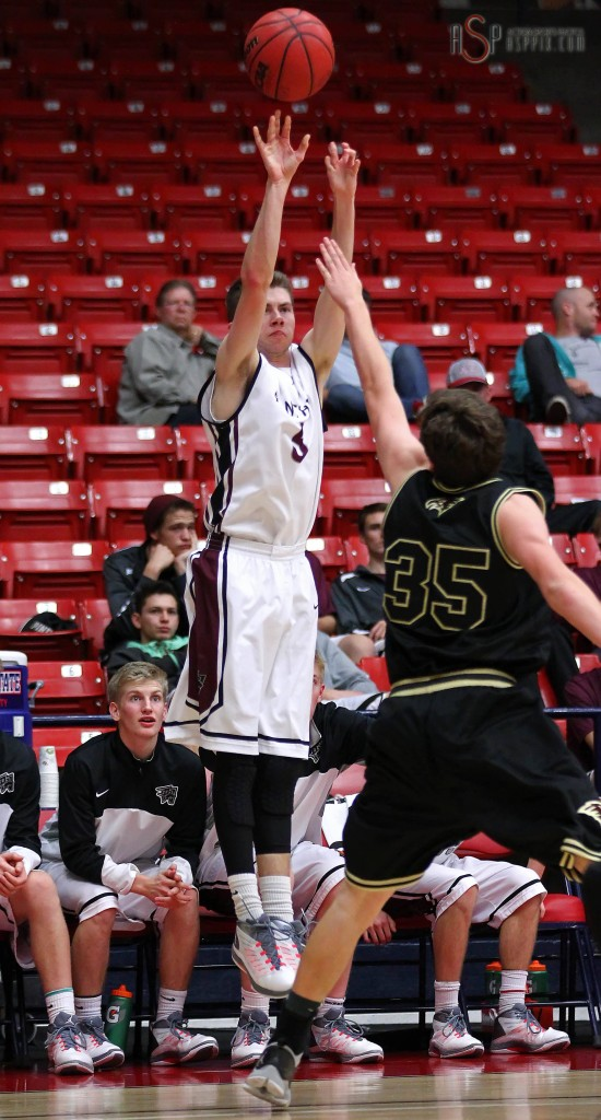 Kendrick Spencer puts up a 3-point attempt, Pine View vs. Maple Mountain, Boys Basketball, St. George, Utah, Dec. 18, 2014 | Photo by Robert Hoppie, ASPpix.com, St. George News