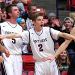 The Pine View bench reacts to a 3-point shot made by a teammate, Pine View vs. Maple Mountain, Boys Basketball, St. George, Utah, Dec. 18, 2014 | Photo by Robert Hoppie, ASPpix.com, St. George News