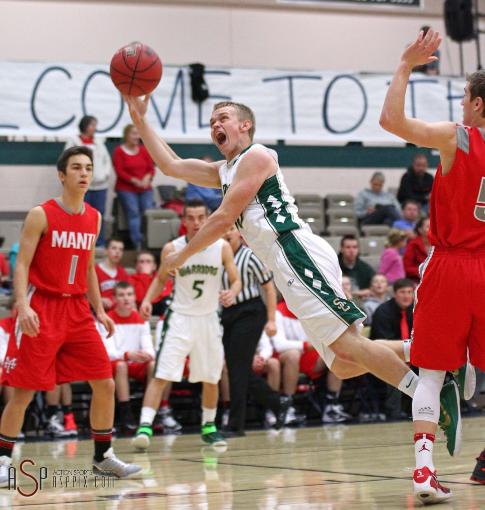 Brock Staheli puts up a shot in the paint for the Warriors, Snow Canyon vs. Manti, Boys Basketball, St. George, Utah, Dec. 20, 2014 | Photo by Robert Hoppie, ASPpix.com, St. George News