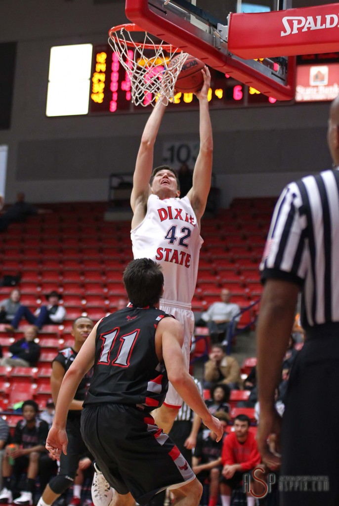 Zach Robbins (42) with a dunk for the Red Storm, Dixie State University vs. Holy Names University Mens Basketball, St. George, Utah, Dec. 20, 2014 | Photo by Robert Hoppie, ASPpix.com, St. George News
