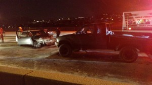 Icy conditions were blamed for two separate accident that occurred on a Dixie Drive bridge, the first of which sent two people to the hospital, St. George, Utah, Dec. 31, 2014   Photo by Mori Kessler, St. George News.