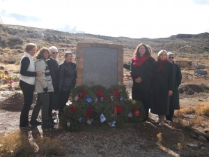 Members of the Color Country Chapter of the Daughters of the American Revolution stood beside the memorial dedicated to the fallen Shivwits Band of Paiutes veterans stands at the Shivwits Cemetery, on the Shivwits Indian Reservation, Utah, Dec. 13, 2014 | Photo by Aspen Stoddard, St. George News