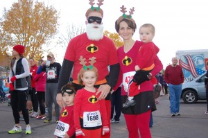 "The incredible Farnsworth family gets ready to participate in the ""Run Run Reindeer 10K, 5K and One Mile Kids Run"" held in Ivins, Utah, Dec. 6, 2014 