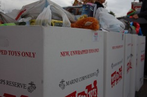 Boxes are filled with new, unwrapped toys for the Toys for Tots drive to help needy families, Ivins, Utah, Dec. 6, 2014   Photo by Hollie Reina, St. George News