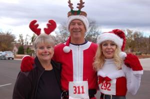 "L-R Lois Kraus, Doug Hamilton and Marianne Hamilton don festive gear and prepare to race at the ""Run Run Reindeer"" family fun run in Ivins, Utah, Dec. 6, 2014   Photo by Hollie Reina, St. George News"