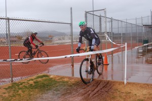 Riders navigate a wet, muddy course during the Southern Utah Cyclocross series finale held at Gubler Park, Santa Clara, Utah, Dec. 13, 2014 | Photo by Hollie Reina, St. George News