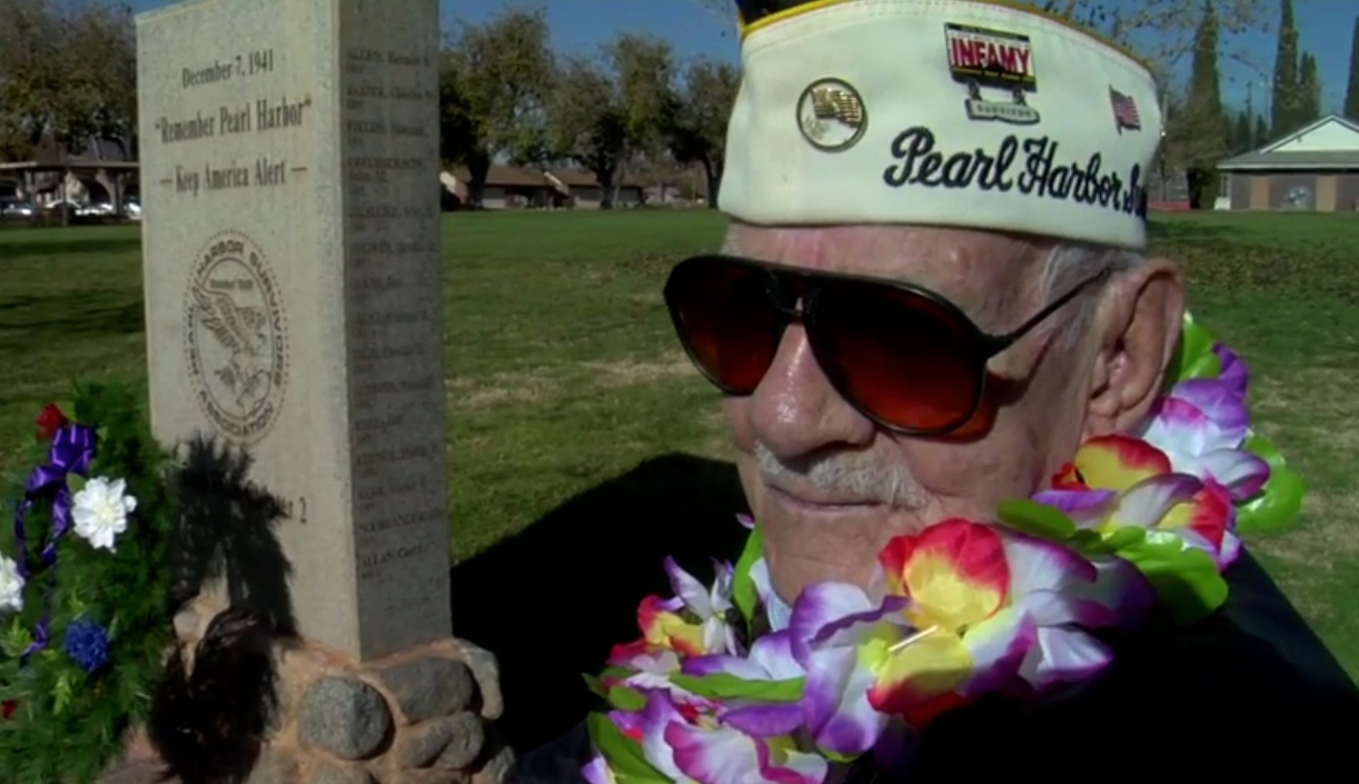 WWII veteran and Pearl Harbor survivor Garth Sawyers, at Vernon Worthen Park, Pearl Harbor Memorial, St. George, Utah, Dec. 7, 2014 | Photo by Melissa Anderson, St. George News and KCSG