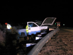 A California driver launched a company truck across the southbound median and was caught by a guardrail  before it could enter northbound traffic on I-15 Wednesday night | Photo courtesy of Carin Miller, St. George News