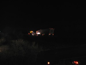 A Good Samaritan who pulled over to help had to have a tow truck come help realign his truck to the road so he could drive after forgetting to lock his air brake | Photo courtesy of Carin Miller, St. George News