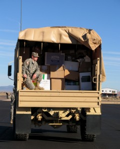 The donations keep coming, completely filling the back of the massive National Guard truck   Photo taken by Carin Miller, St. George News